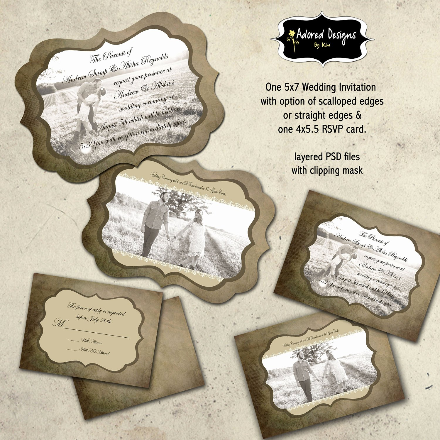 Wedding Invitations Photoshop Template New Instant Download Wedding Invitation Shop by Adoreddesign