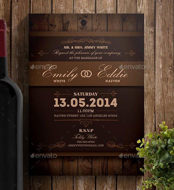 sample rustic wedding invitation