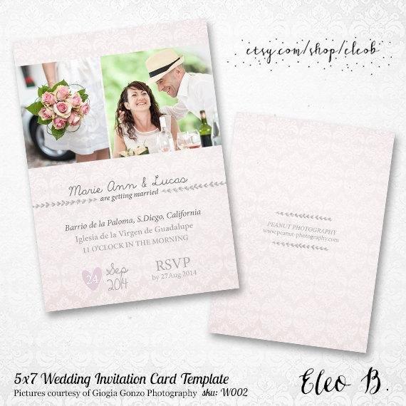Wedding Invite Photoshop Template Beautiful 5x7 Wedding Invitation Template Shop Wedding