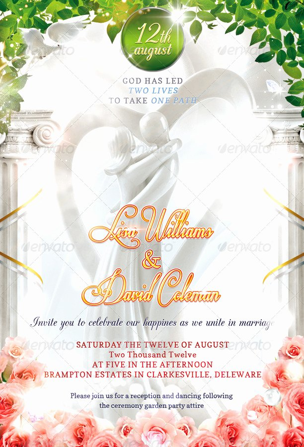 Wedding Invite Photoshop Template Beautiful Wedding Invitation Psd Template by Masterflyer
