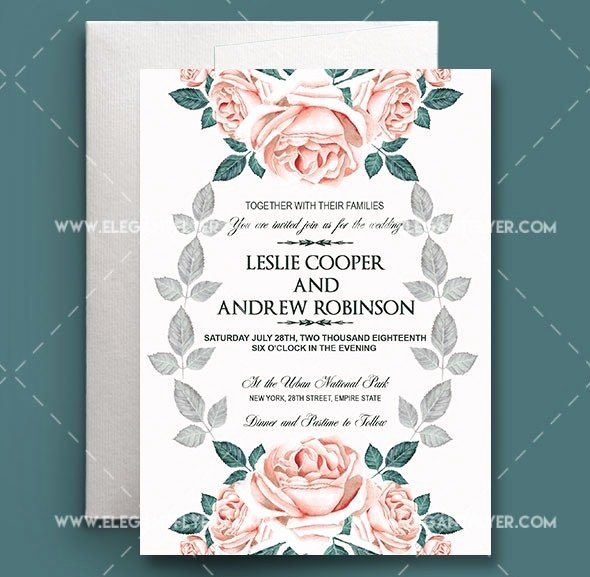 Wedding Invite Photoshop Template Elegant Wedding Invitation Template Free Download Psd