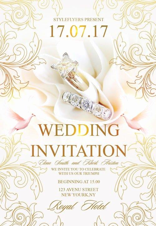Wedding Invite Photoshop Template Luxury Free Wedding Invitation Flyer Template Download Flyer