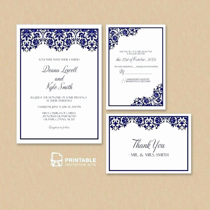 Wedding Invite Photoshop Template Unique Wedding Acceptance Card Template Free Damask Frame