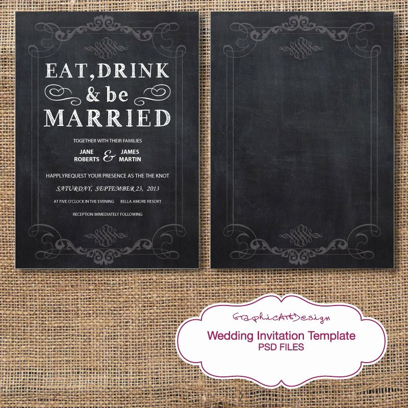 Wedding Invite Template Photoshop Awesome Chalkboard Wedding Invitation Card Shop by