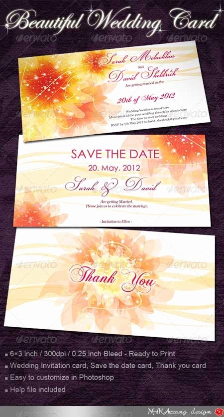 Wedding Invite Template Photoshop Beautiful Graphicriver Wedding Invitation Cards with Flowers