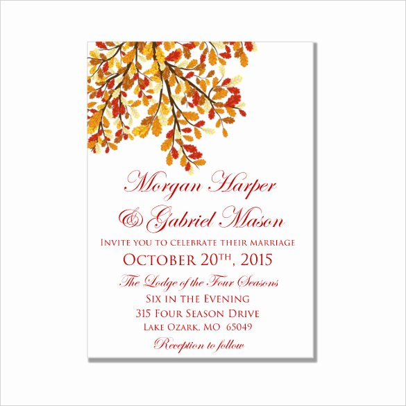Wedding Invite Template Word Awesome 26 Fall Wedding Invitation Templates – Free Sample