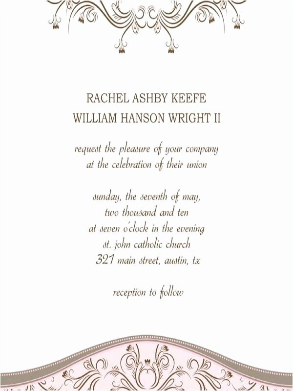 Wedding Invite Template Word Beautiful Free Wedding Invite Templates Word – nordicbattlegroup