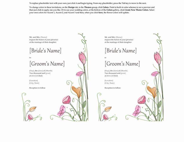 Wedding Invite Template Word Elegant Microsoft Word 2013 Wedding Invitation Templates