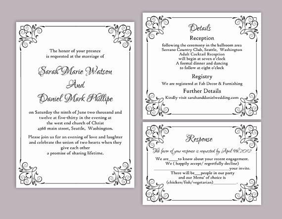 Wedding Invite Template Word Fresh Diy Wedding Invitation Template Set Editable Word File