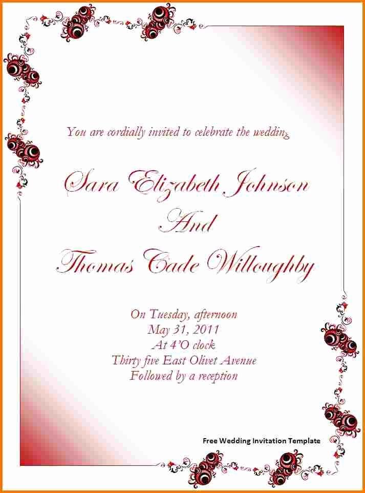 Wedding Invite Template Word Fresh Free Wedding Invitation Templates for Word