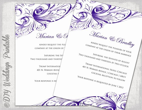 Wedding Invite Template Word Fresh Wedding Invitation Template Eggplant Diy Wedding Invitations