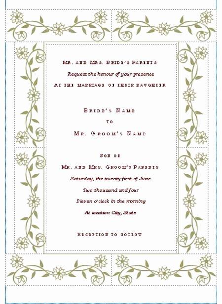 Wedding Invite Template Word Inspirational Free Printable Wedding Invitation Templates