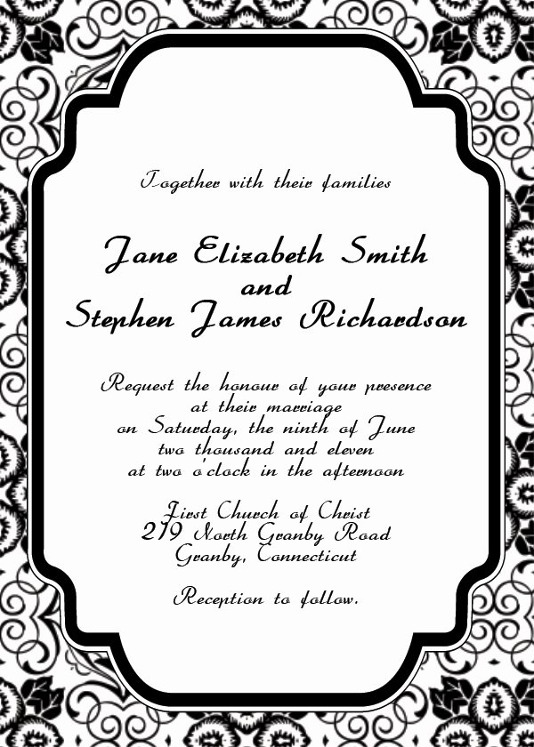 Wedding Invite Template Word Lovely Free Printable Wedding Invitation Templates