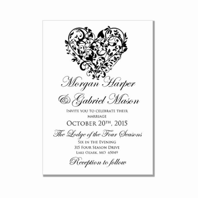"Wedding Invite Template Word Lovely Printable Wedding Invitation ""heart"" Diy Wedding"