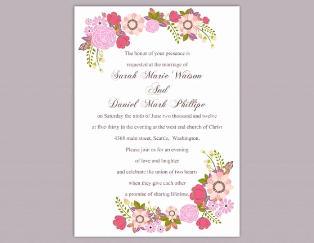 Wedding Invite Template Word New Diy Wedding Invitation Template Editable Word File Instant