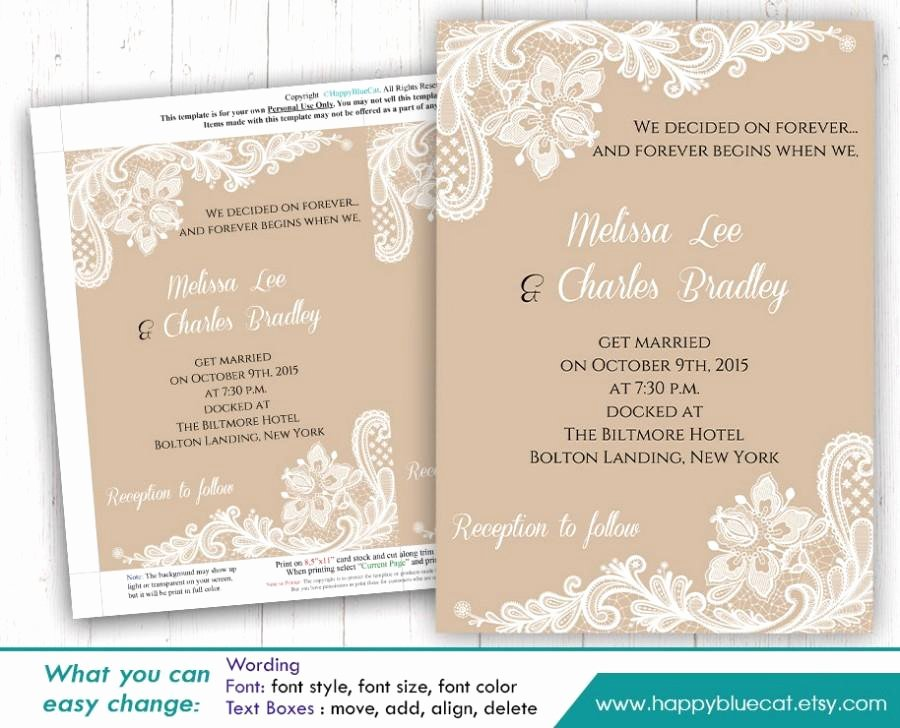 Wedding Invite Template Word Unique Diy Printable Wedding Invitation Template Instant