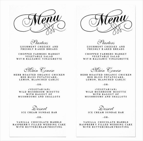 Wedding Menu Cards Template Awesome 36 Wedding Menu Templates – Free Sample Example format