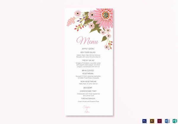 Wedding Menu Cards Template Awesome 42 Sample Menu Cards