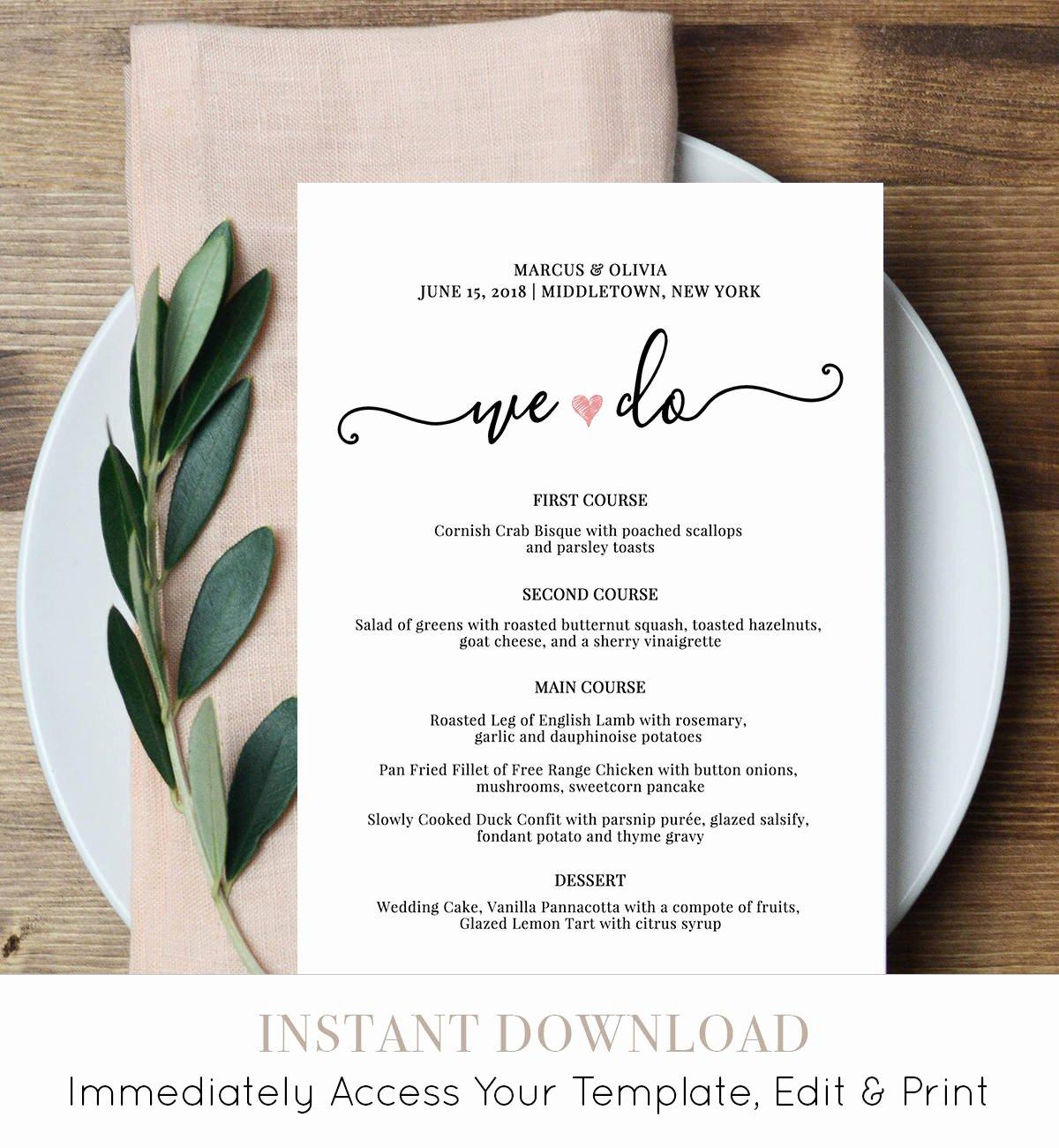 Wedding Menu Cards Template Awesome Wedding Menu Card Template We Do Printable Dinner Menu