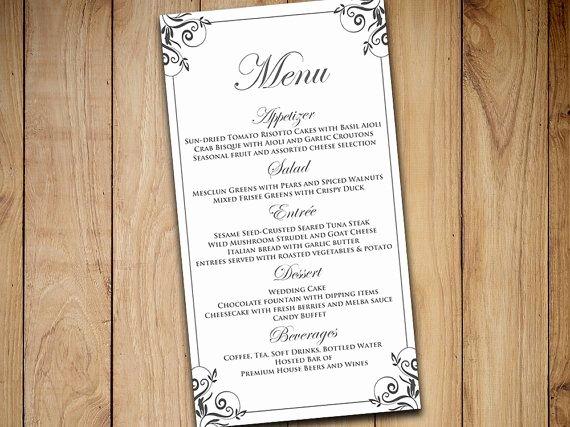 Wedding Menu Cards Template Beautiful Best 25 Wedding Menu Template Ideas On Pinterest