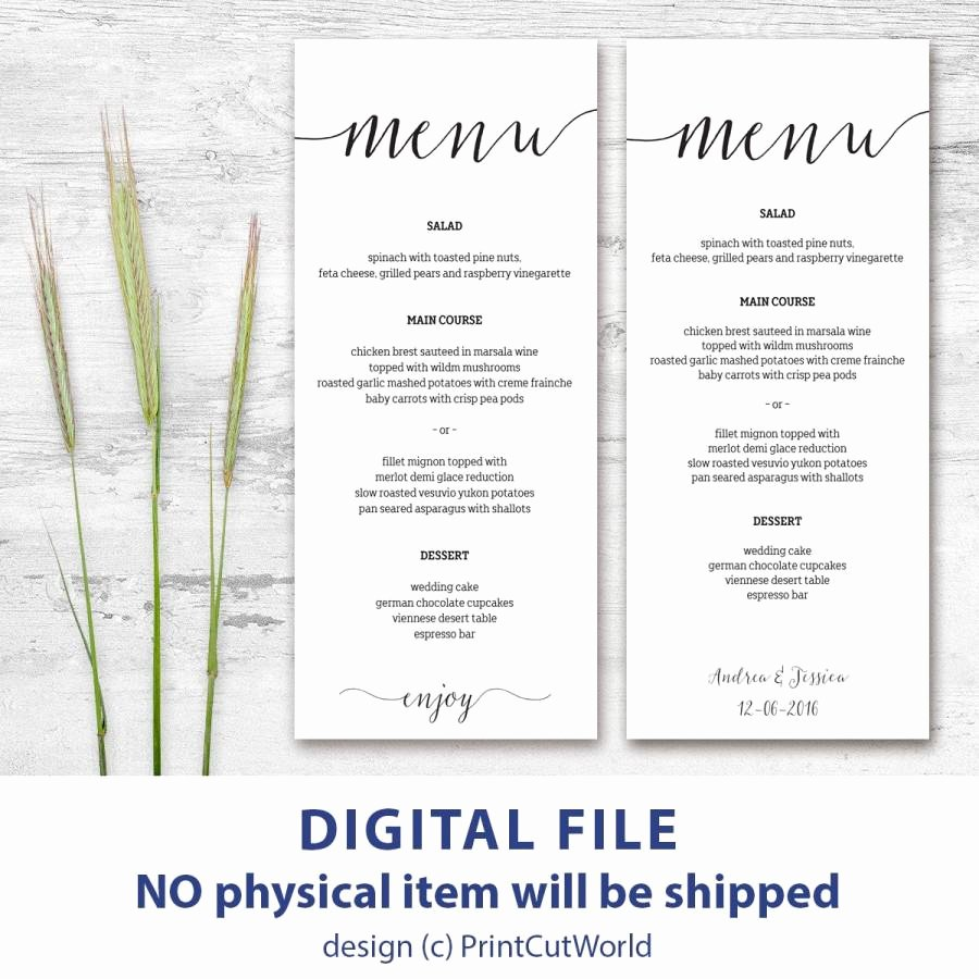 Wedding Menu Cards Template Beautiful Printable Menu Card 4x9 Rustic Wedding Menu Template