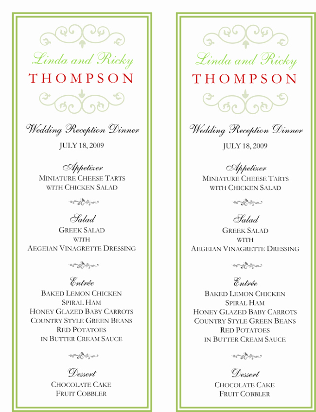 Wedding Menu Cards Template Beautiful Wedding Menu Template 5 Free Printable Menu Cards