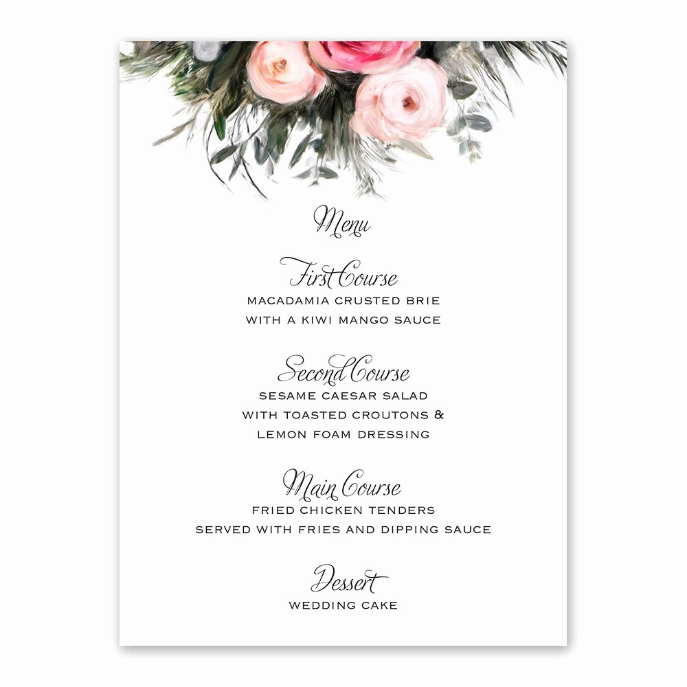 Wedding Menu Cards Template Best Of Ethereal Garden Menu Card