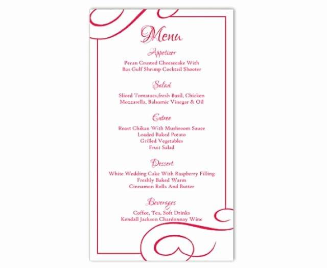 Wedding Menu Cards Template Best Of Wedding Menu Template Diy Menu Card Template Editable Text