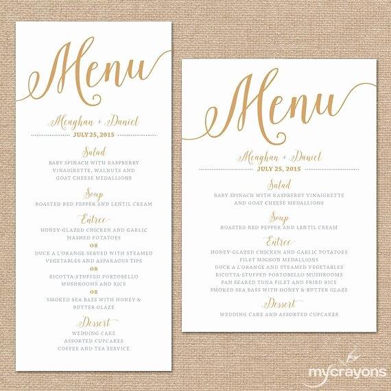 Wedding Menu Cards Template Elegant Gold Wedding Menu Cards Wedding Menu Template Gold