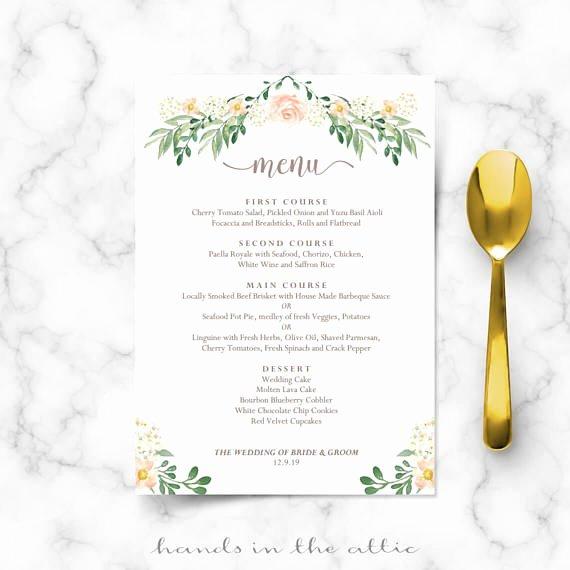 Wedding Menu Cards Template Elegant Rustic Wedding Menu Rehearsal Dinner Menu Template Sit Down