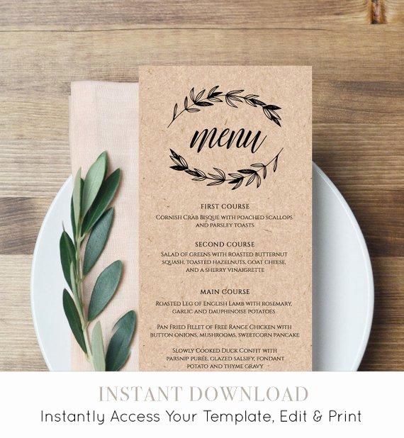 Wedding Menu Cards Template Elegant Rustic Wedding Menu Template Printable Menu Card Editable