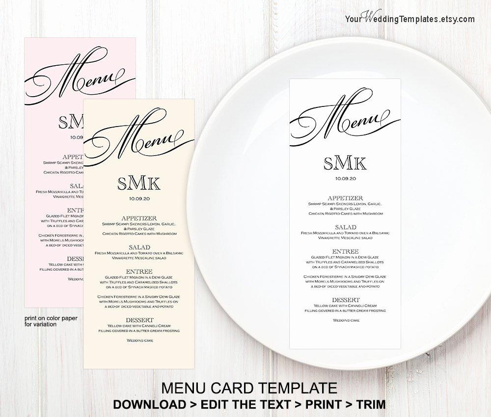 Wedding Menu Cards Template Fresh Printable Wedding Menu Templatemenu Card Template Instant