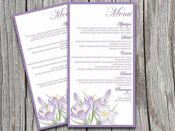 Wedding Menu Cards Template Fresh Wedding Menu Card Template