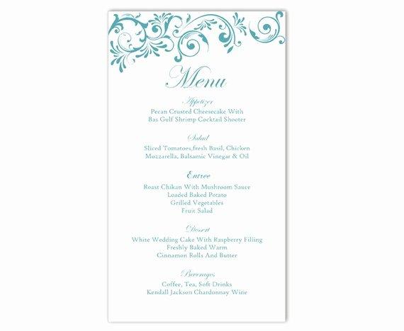 Wedding Menu Cards Template Fresh Wedding Menu Template Diy Menu Card Template Editable Text