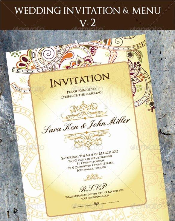 Wedding Menu Cards Template Inspirational 36 Wedding Menu Templates – Free Sample Example format