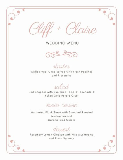 Wedding Menu Cards Template Inspirational Customize 273 Wedding Menu Templates Online Canva