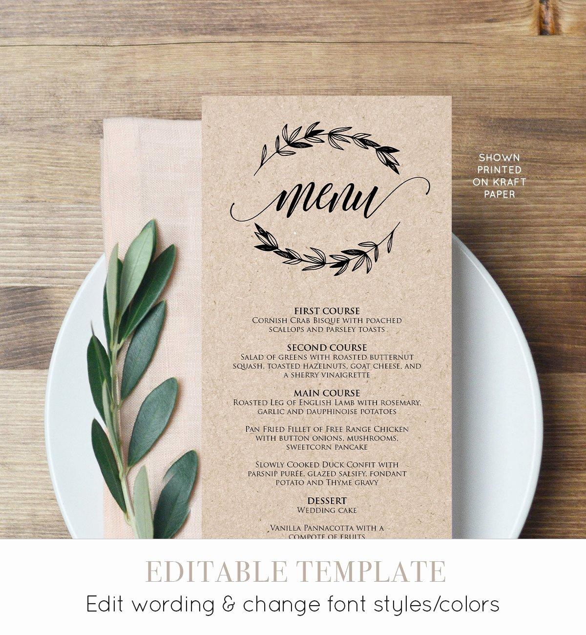 Wedding Menu Cards Template Inspirational Rustic Wedding Menu Template Printable Menu Card