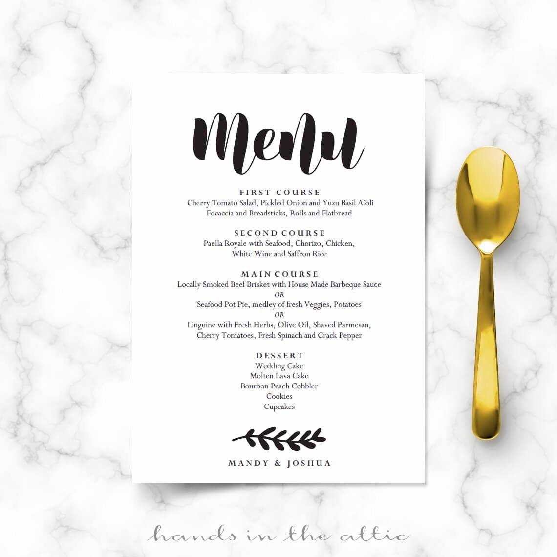 Wedding Menu Cards Template Lovely Simple Wedding Menu Card Printable Templates