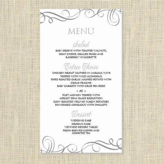 Wedding Menu Cards Template Lovely Wedding Menu Card Template Download Instantly by