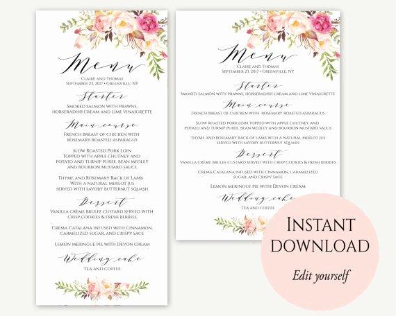Wedding Menu Cards Template New 25 Best Ideas About Wedding Menu Template On Pinterest