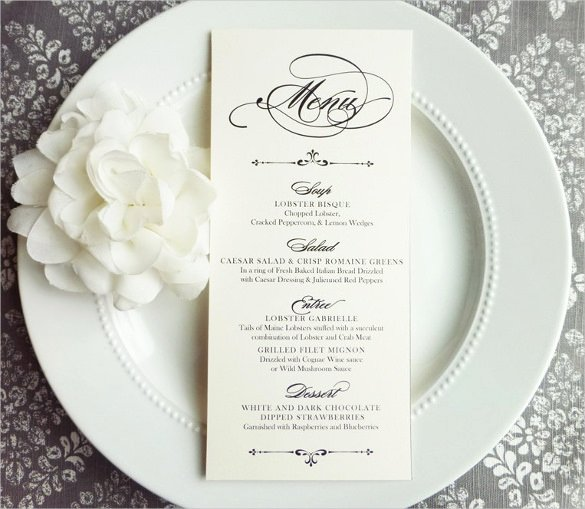 Wedding Menu Cards Template New 37 Wedding Menu Template – Free Sample Example format