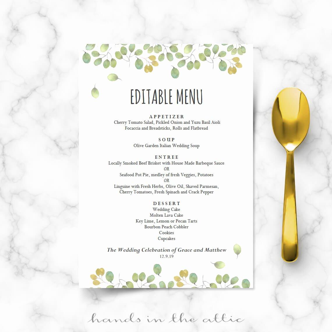 Wedding Menu Cards Template New Leaves Wedding Reception Menu Template