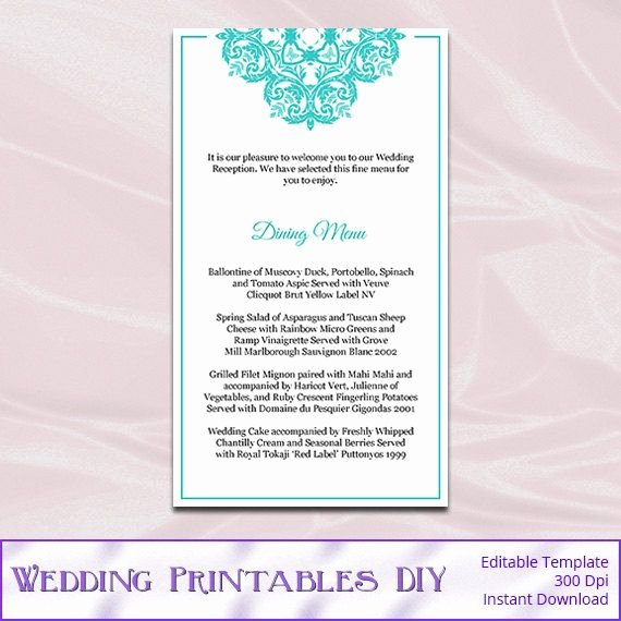 Wedding Menu Cards Template New Tiffany Blue Wedding Menu Cards Template by