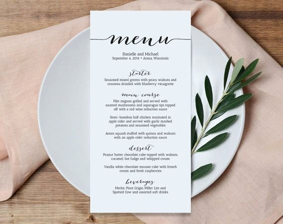 Wedding Menu Cards Template New Wedding Menu Printable Template Printable Menu Menu