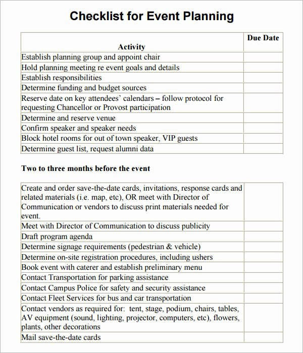 Wedding Planner Checklist Template Awesome 11 Sample event Planning Checklists – Pdf Word