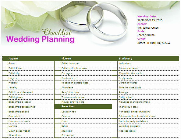 Wedding Planner Checklist Template Fresh Ms Word Wedding Planning Checklist