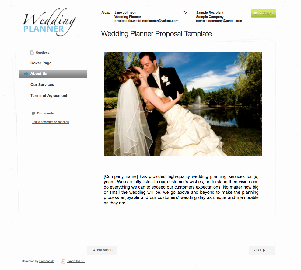 Wedding Planner Website Template Fresh Business Proposal Templates the Proposable Blogthe