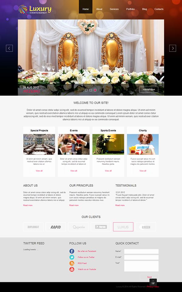 Wedding Planner Website Template Luxury event Planner Joomla Template On Behance