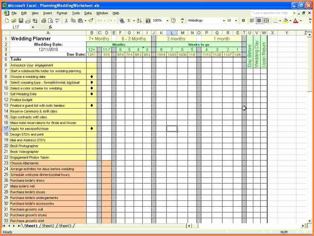 8 wedding planning bud spreadsheet