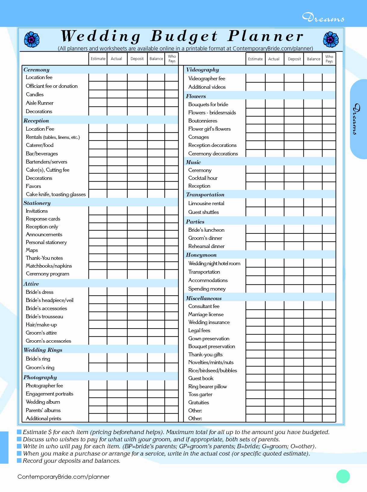 Wedding Planning Budget Template Beautiful 14 Useful Wedding Bud Planners